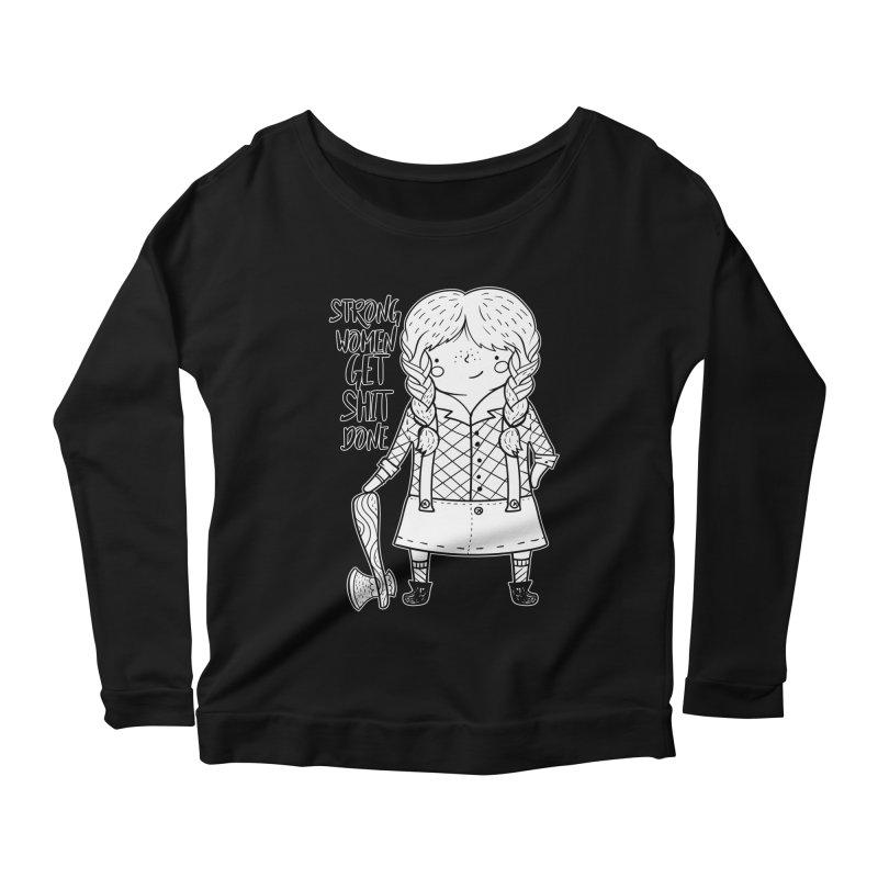 Strong Women Women's Scoop Neck Longsleeve T-Shirt by RockerByeDestash Market