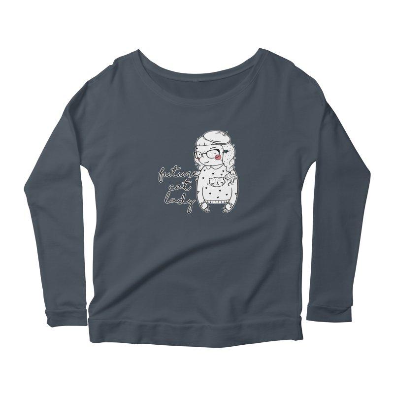 Future Cat Lady Women's Scoop Neck Longsleeve T-Shirt by RockerByeDestash Market