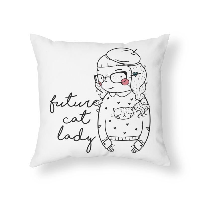 Future Cat Lady Home Throw Pillow by RockerByeDestash Market