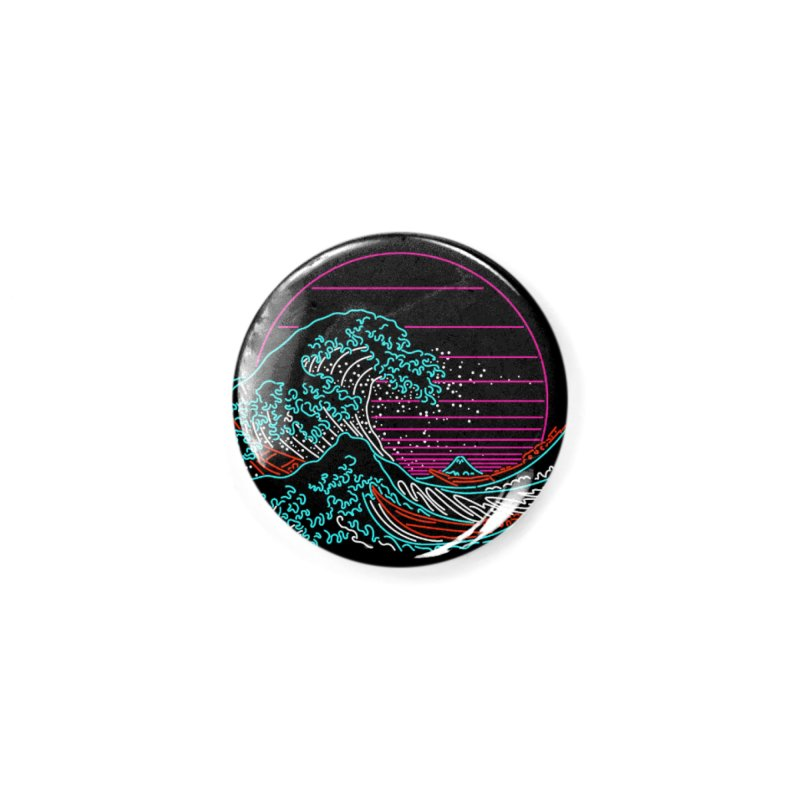Great Wave Neon - Great Wave Off Kanagawa - Hokusai - Vintage Accessories Button by Rocketman