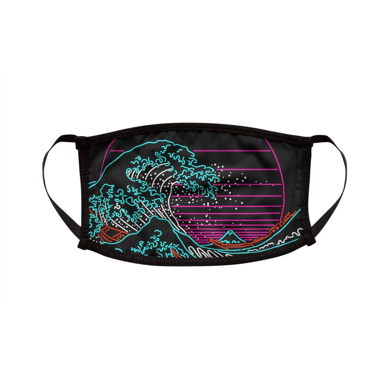 Great Wave Neon - Great Wave Off Kanagawa - Hokusai - Vintage Accessories Face Mask by Rocketman