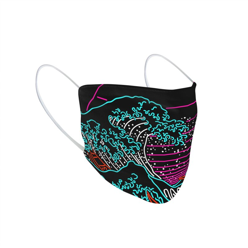 Great Wave Neon - Great Wave Off Kanagawa - Hokusai - Vintage Accessories Face Mask by Rocketman
