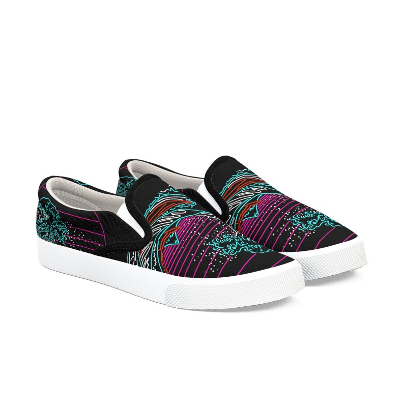 Great Wave Neon - Great Wave Off Kanagawa - Hokusai - Vintage Women's Shoes by Rocketman