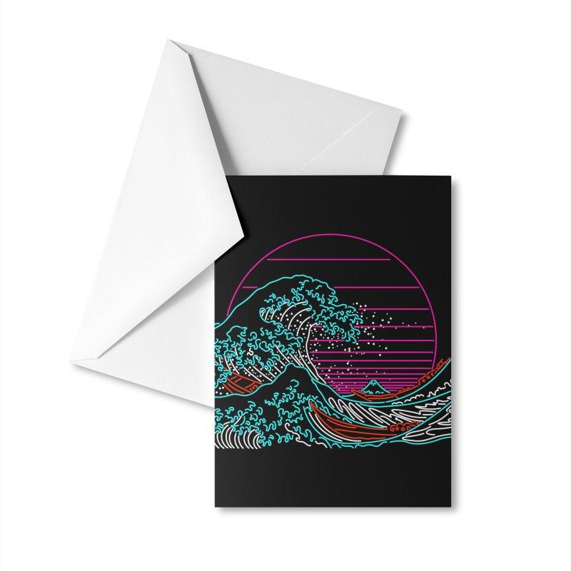 Great Wave Neon - Great Wave Off Kanagawa - Hokusai - Vintage Accessories Greeting Card by Rocketman