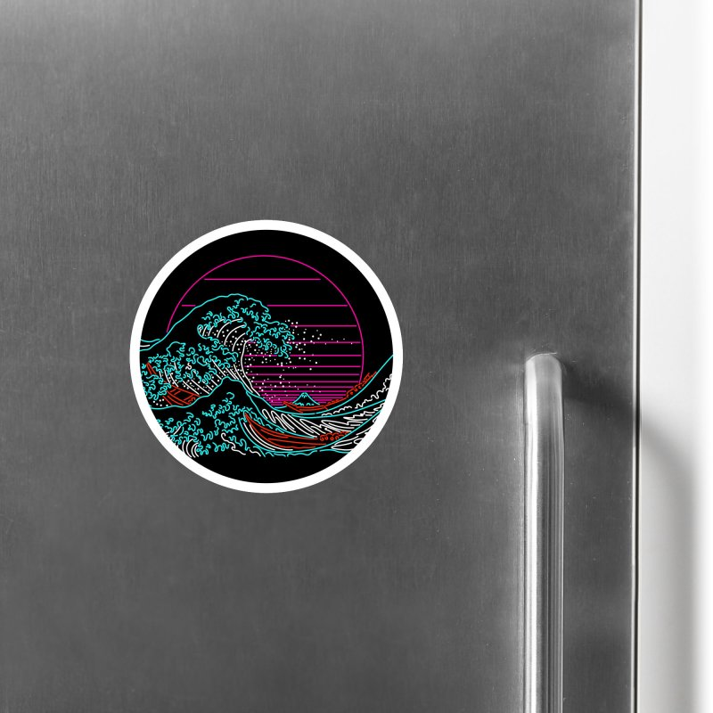 Great Wave Neon - Great Wave Off Kanagawa - Hokusai - Vintage Accessories Magnet by Rocketman