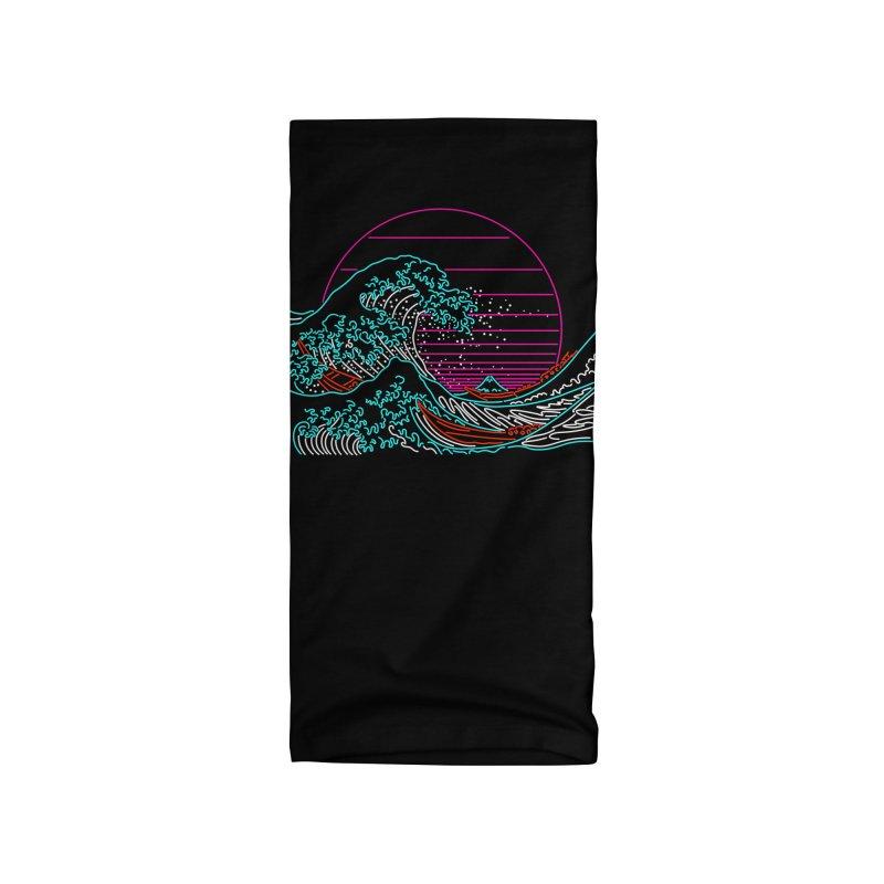 Great Wave Neon - Great Wave Off Kanagawa - Hokusai - Vintage Accessories Neck Gaiter by Rocketman