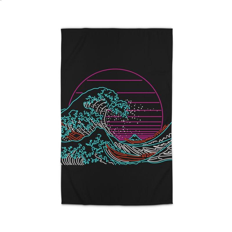 Great Wave Neon - Great Wave Off Kanagawa - Hokusai - Vintage Home Rug by Rocketman