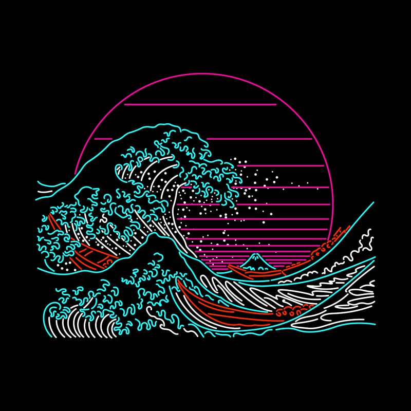 Great Wave Neon - Great Wave Off Kanagawa - Hokusai - Vintage Men's T-Shirt by Rocketman