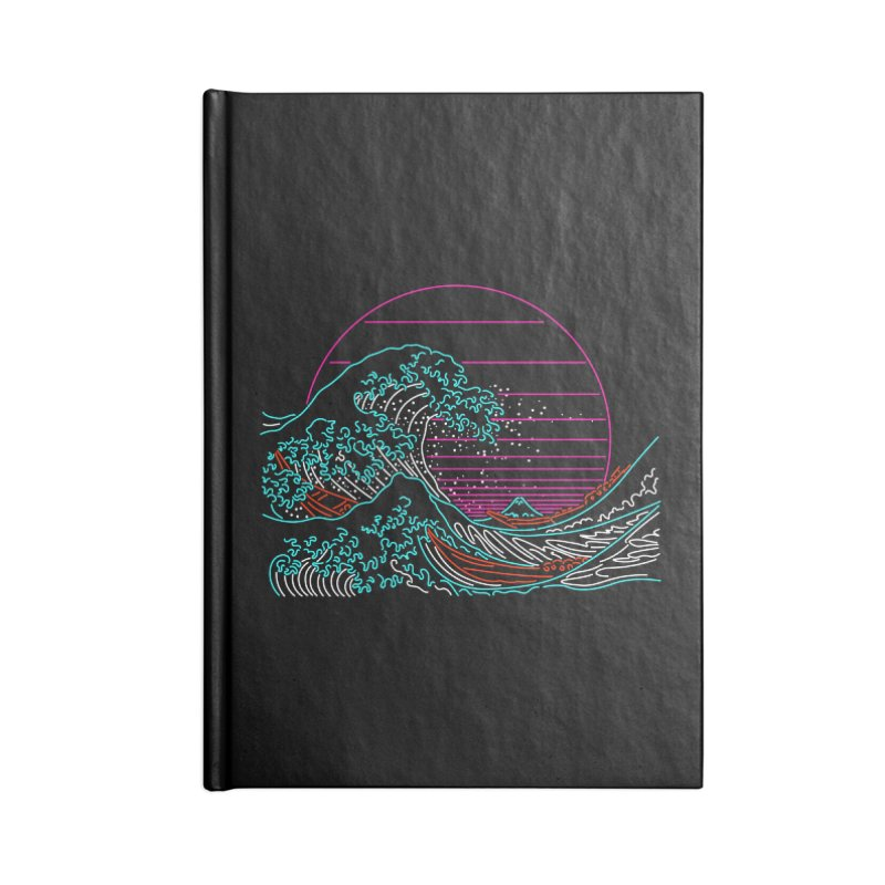 Great Wave Neon - Great Wave Off Kanagawa - Hokusai - Vintage Accessories Notebook by Rocketman