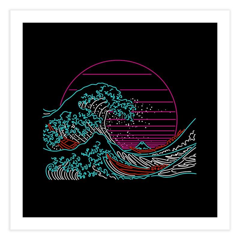 Great Wave Neon - Great Wave Off Kanagawa - Hokusai - Vintage Home Fine Art Print by Rocketman