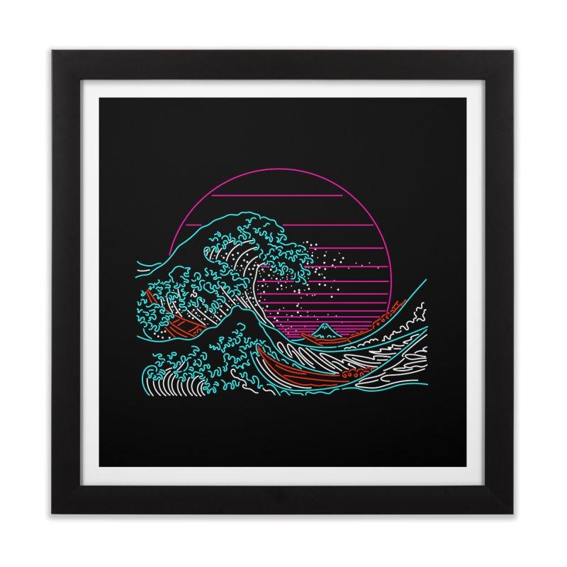 Great Wave Neon - Great Wave Off Kanagawa - Hokusai - Vintage Home Framed Fine Art Print by Rocketman