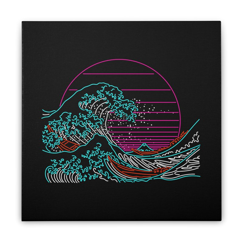 Great Wave Neon - Great Wave Off Kanagawa - Hokusai - Vintage Home Stretched Canvas by Rocketman