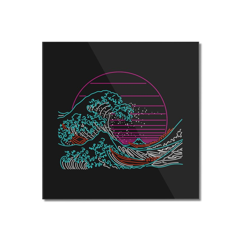 Great Wave Neon - Great Wave Off Kanagawa - Hokusai - Vintage Home Mounted Acrylic Print by Rocketman