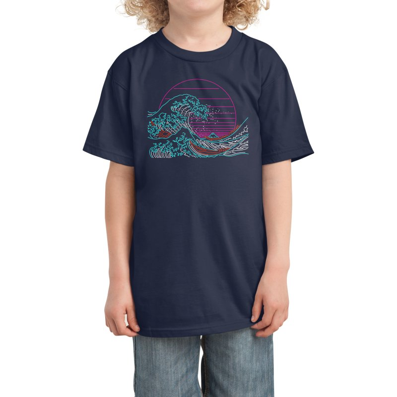 Great Wave Neon - Great Wave Off Kanagawa - Hokusai - Vintage Kids T-Shirt by Rocketman