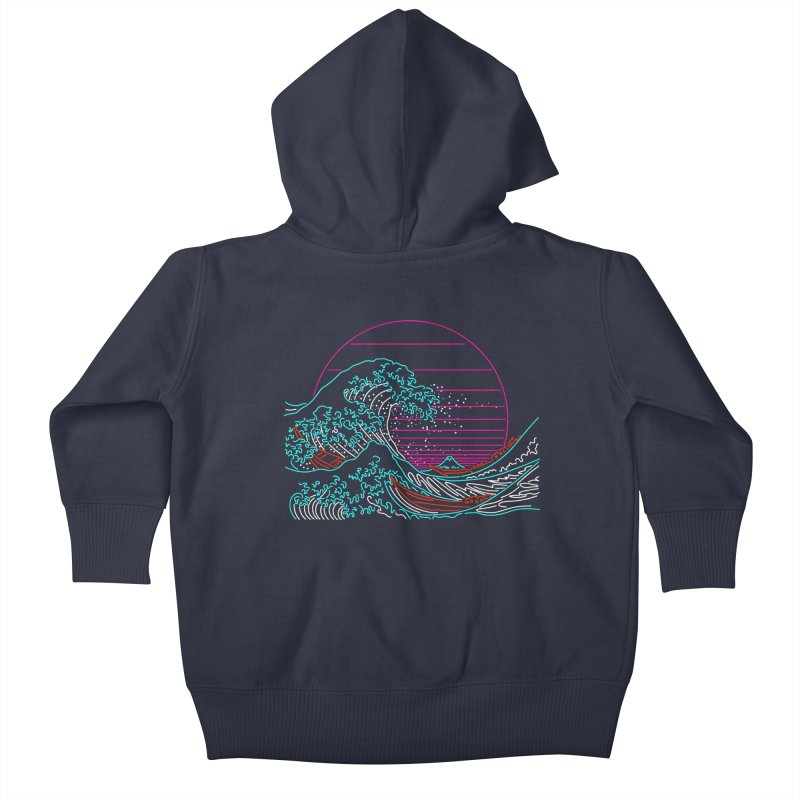 Great Wave Neon - Great Wave Off Kanagawa - Hokusai - Vintage Kids Baby Zip-Up Hoody by Rocketman
