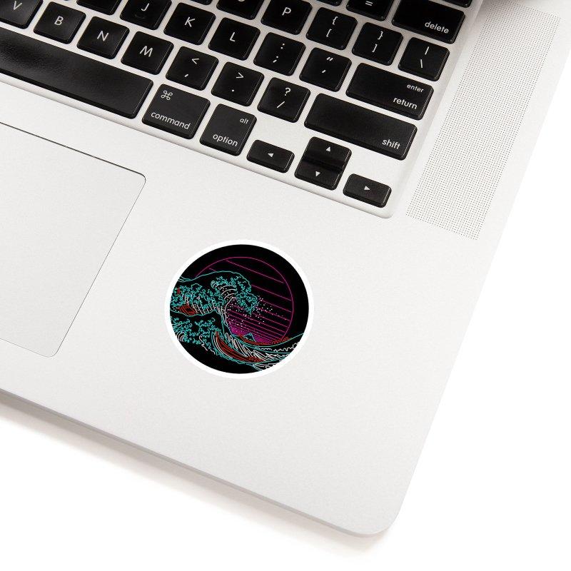 Great Wave Neon - Great Wave Off Kanagawa - Hokusai - Vintage Accessories Sticker by Rocketman