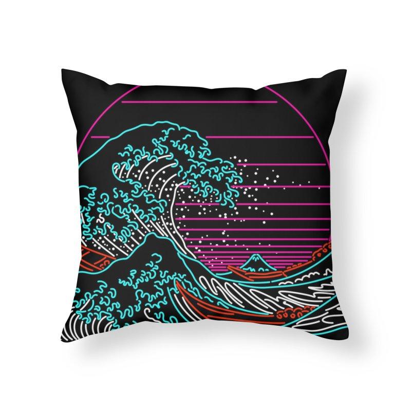 Great Wave Neon - Great Wave Off Kanagawa - Hokusai - Vintage Home Throw Pillow by Rocketman