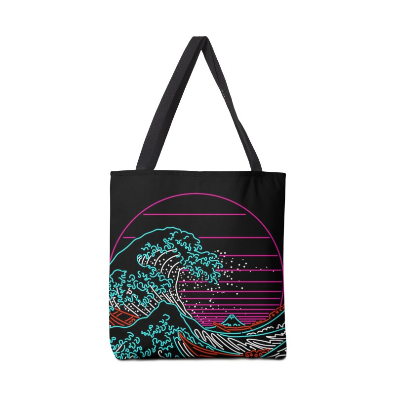 Great Wave Neon - Great Wave Off Kanagawa - Hokusai - Vintage Accessories Bag by Rocketman