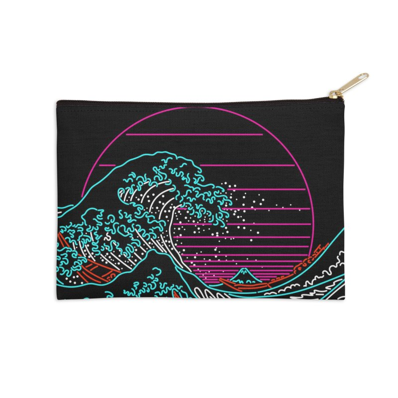 Great Wave Neon - Great Wave Off Kanagawa - Hokusai - Vintage Accessories Zip Pouch by Rocketman