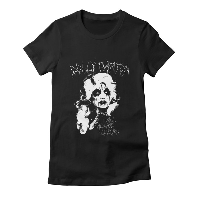 Black Metal Dolly Women's Fitted T-Shirt by Rocks Off Designs