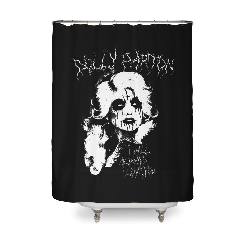 Black Metal Dolly Home Shower Curtain by Rocks Off Designs