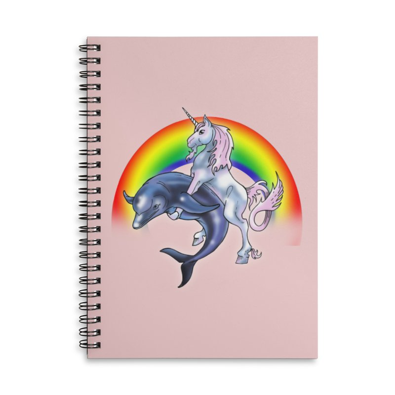 Dolphin Unicorn Love Accessories Lined Spiral Notebook by Rocks Off Designs