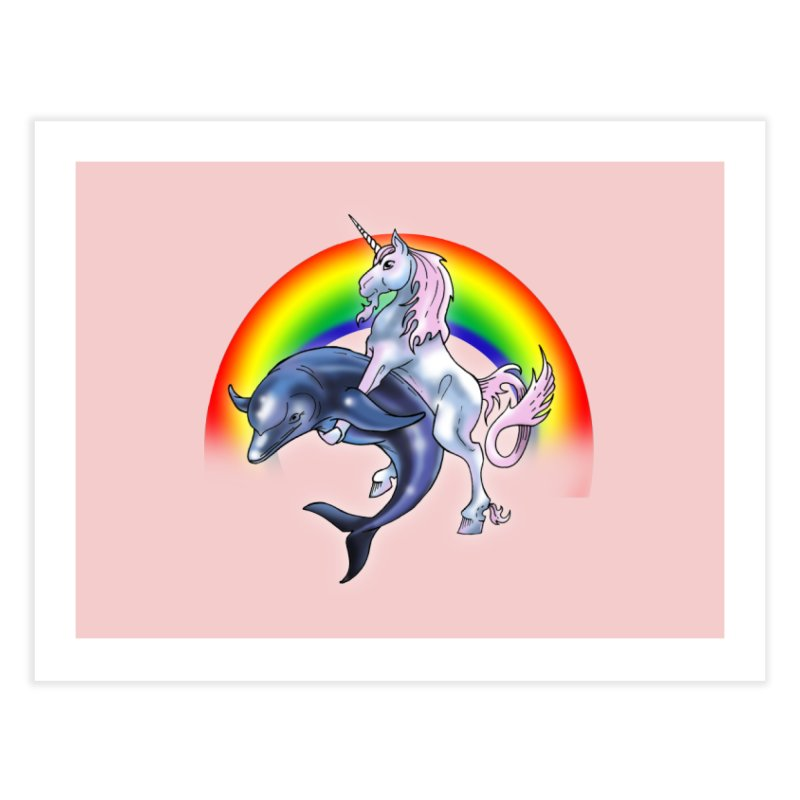 Dolphin Unicorn Love Home Fine Art Print by Rocks Off Designs