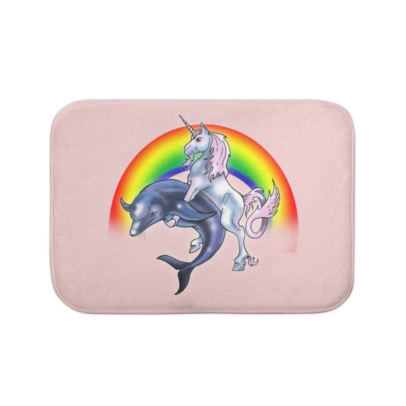Dolphin Unicorn Love Home Bath Mat by Rocks Off Designs