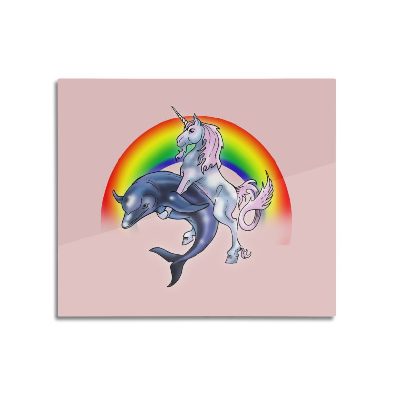 Dolphin Unicorn Love Home Mounted Aluminum Print by Rocks Off Designs