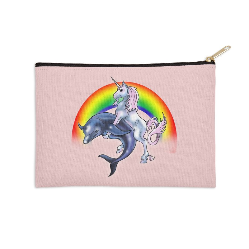 Dolphin Unicorn Love Accessories Zip Pouch by Rocks Off Designs