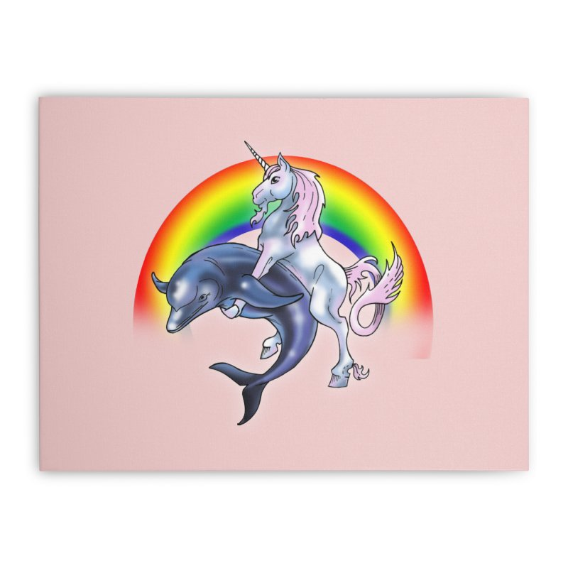 Dolphin Unicorn Love Home Stretched Canvas by Rocks Off Designs