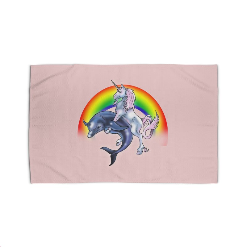 Dolphin Unicorn Love Home Rug by Rocks Off Designs
