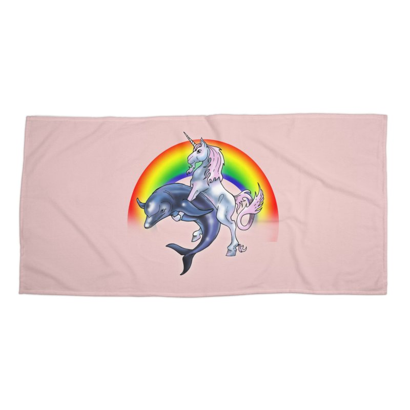 Dolphin Unicorn Love Accessories Beach Towel by Rocks Off Designs