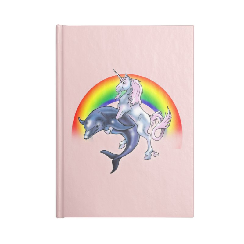Dolphin Unicorn Love Accessories Lined Journal Notebook by Rocks Off Designs