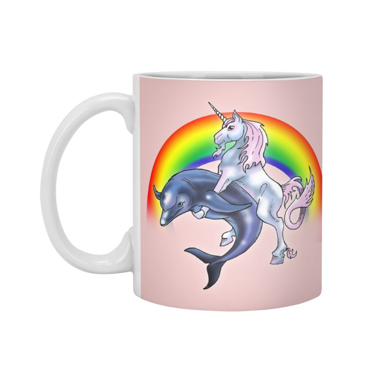 Dolphin Unicorn Love Accessories Standard Mug by Rocks Off Designs