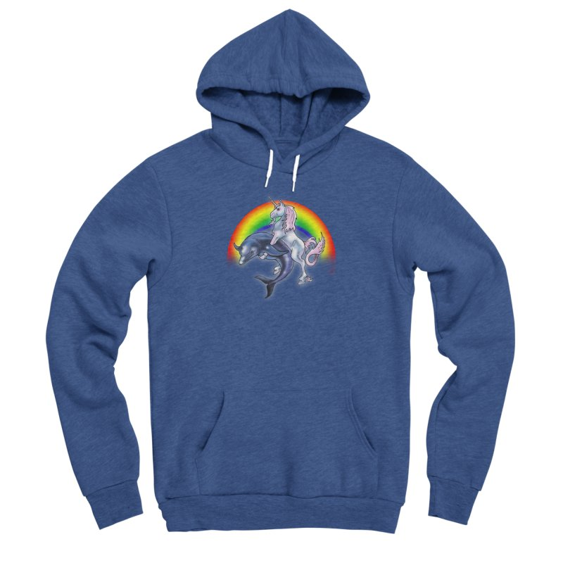 Dolphin Unicorn Love Men's Sponge Fleece Pullover Hoody by Rocks Off Designs