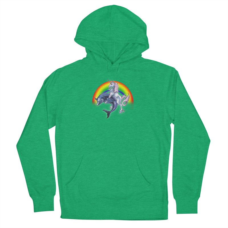 Dolphin Unicorn Love Men's French Terry Pullover Hoody by Rocks Off Designs