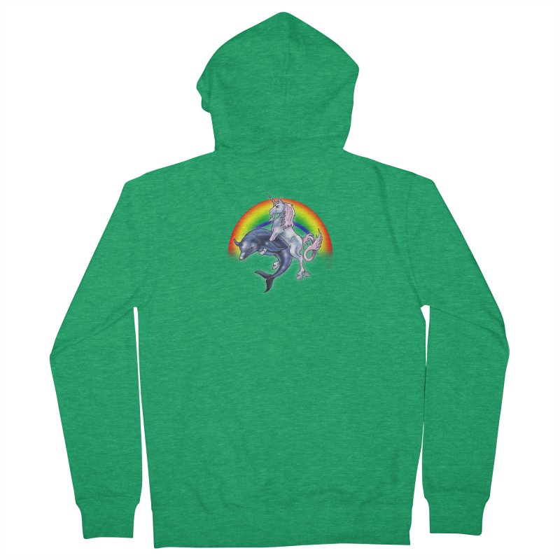 Dolphin Unicorn Love Women's French Terry Zip-Up Hoody by Rocks Off Designs