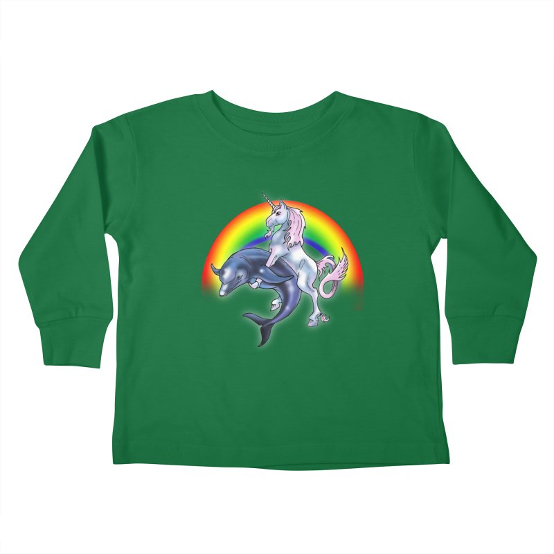 Dolphin Unicorn Love Kids Toddler Longsleeve T-Shirt by Rocks Off Designs