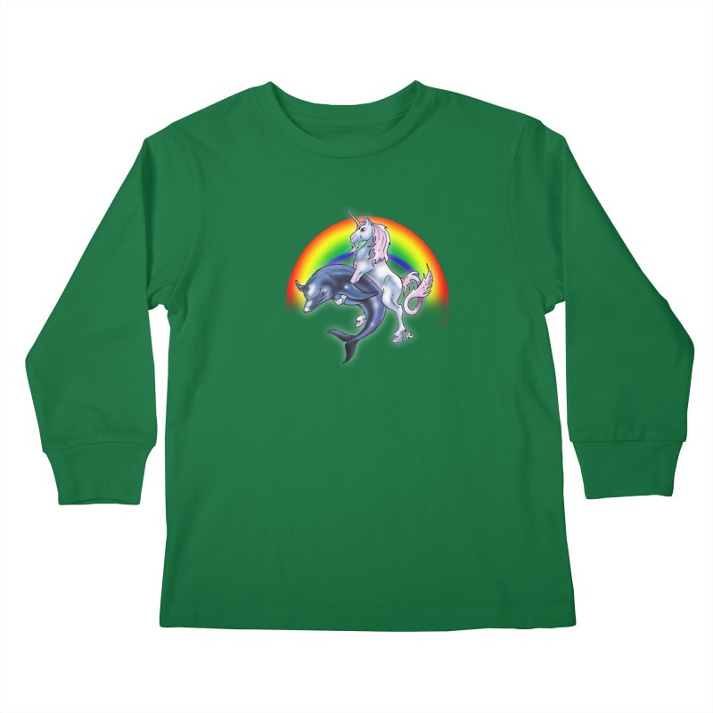Dolphin Unicorn Love Kids Longsleeve T-Shirt by Rocks Off Designs
