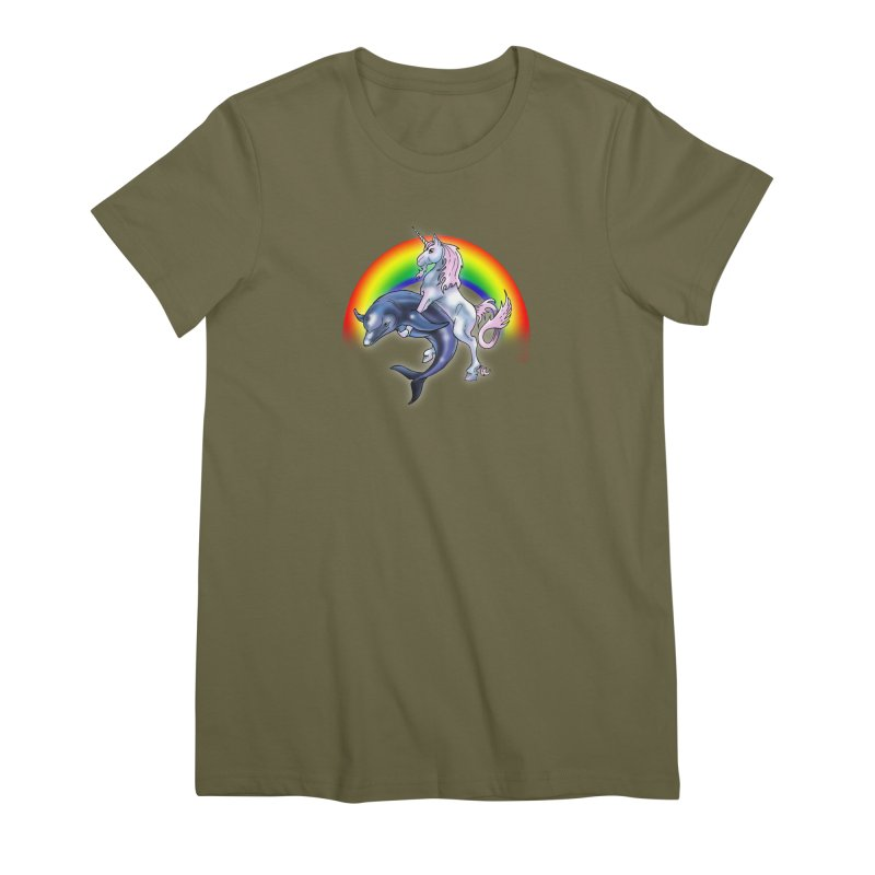 Dolphin Unicorn Love Women's Premium T-Shirt by Rocks Off Designs