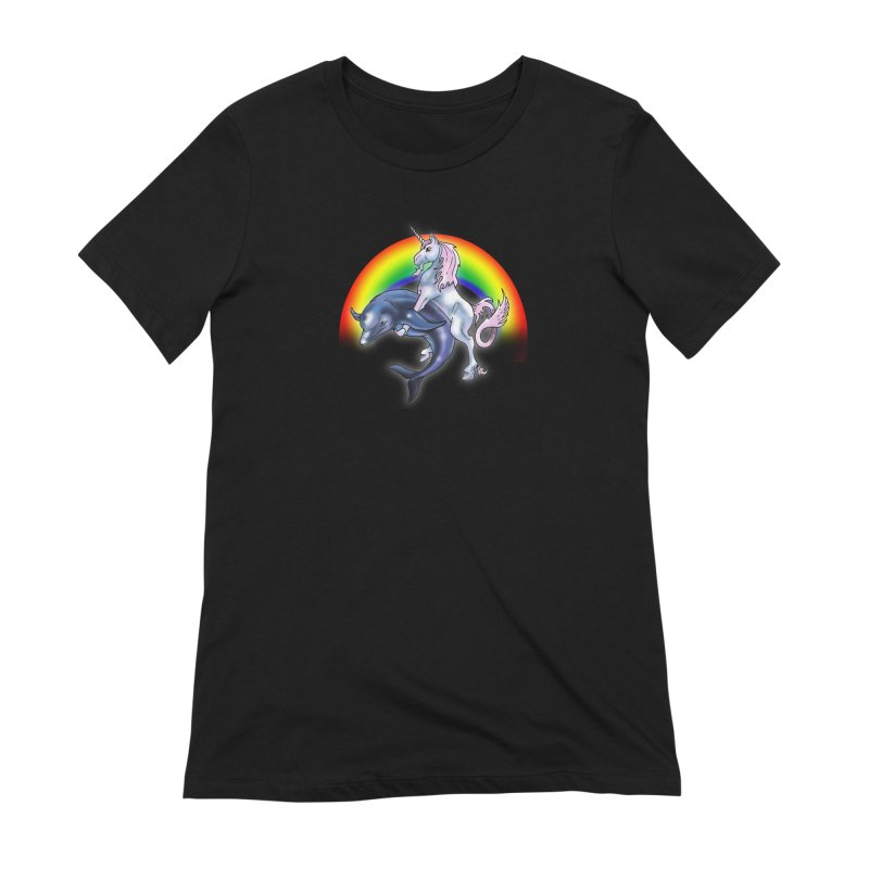 Dolphin Unicorn Love Women's Extra Soft T-Shirt by Rocks Off Designs