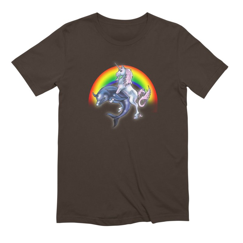 Dolphin Unicorn Love Men's Extra Soft T-Shirt by Rocks Off Designs
