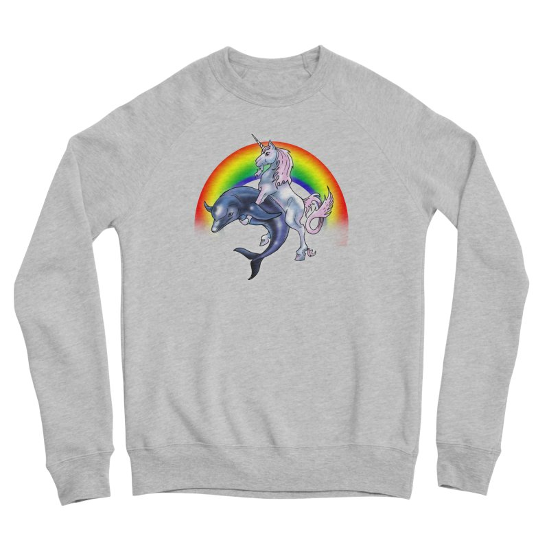 Dolphin Unicorn Love Women's Sponge Fleece Sweatshirt by Rocks Off Designs