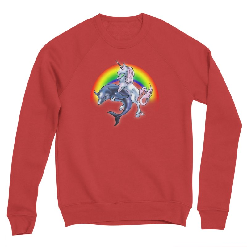 Dolphin Unicorn Love Men's Sponge Fleece Sweatshirt by Rocks Off Designs
