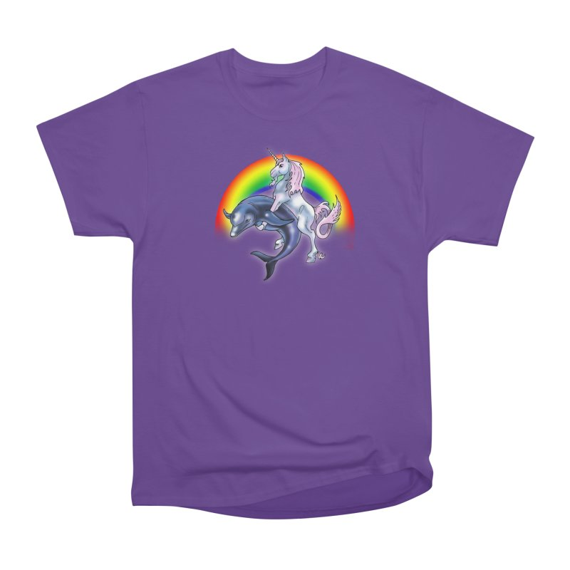 Dolphin Unicorn Love Men's Heavyweight T-Shirt by Rocks Off Designs