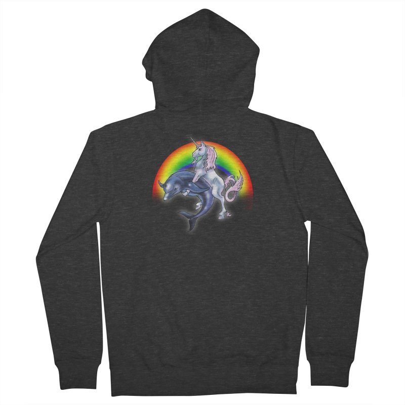 Dolphin Unicorn Love Men's French Terry Zip-Up Hoody by Rocks Off Designs