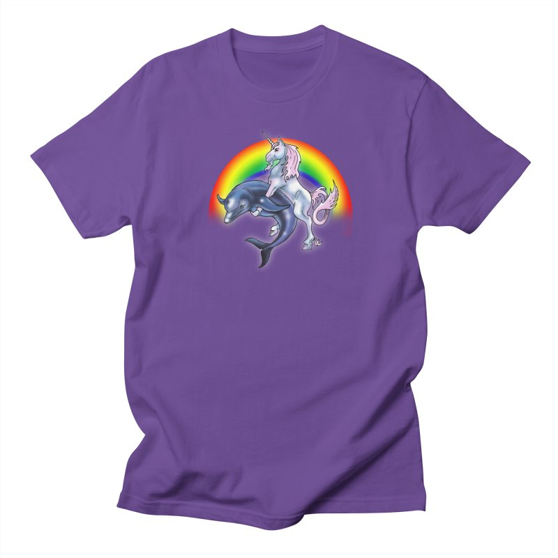 Dolphin Unicorn Love Men's Regular T-Shirt by Rocks Off Designs