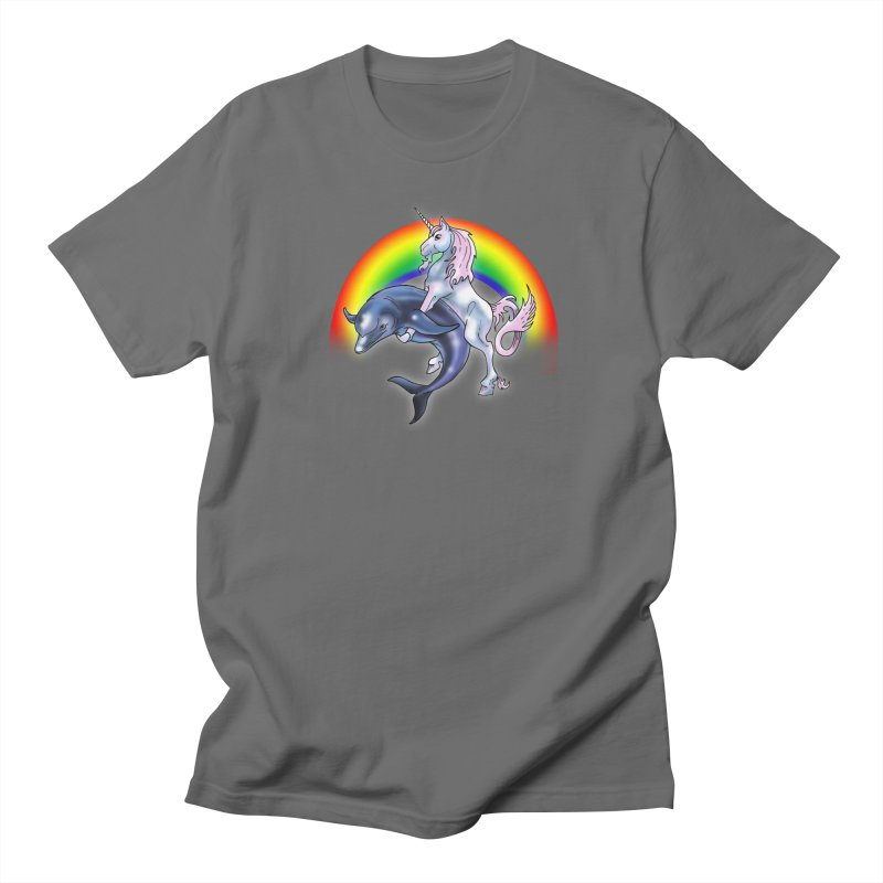 Dolphin Unicorn Love Men's T-Shirt by Rocks Off Designs
