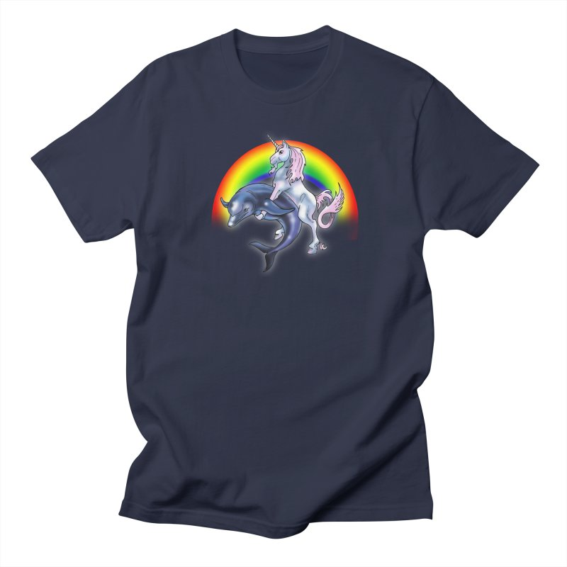 Dolphin Unicorn Love Women's Regular Unisex T-Shirt by Rocks Off Designs